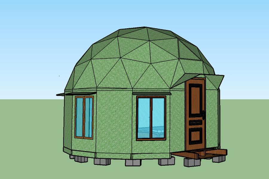 deseño sketch up domo geodesico